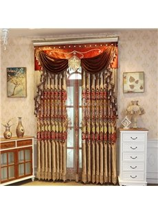 Shining Golden Embroidery Royal Room Darkening Curtains 2 Panel Set 84 Inches Wide and 84 Inches Elegant Look and Silky Soft Touch Machine Wash Accept