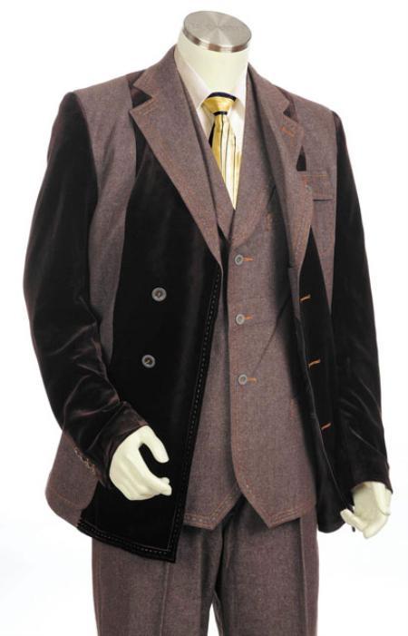Mens Denim Cotton Fabric Two Tone Blazer/Suit/Tuxedo Black With Brown