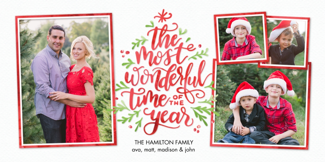 Christmas Photo Cards Flat Matte Photo Paper Cards with Envelopes, 4x8, Card & Stationery -Christmas Tree Script by Tumbalina