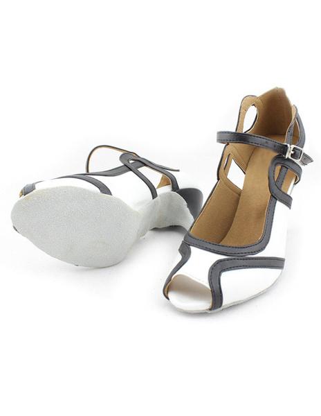 Milanoo Peep Toe Color Block PU Leather Professional Latin Shoes