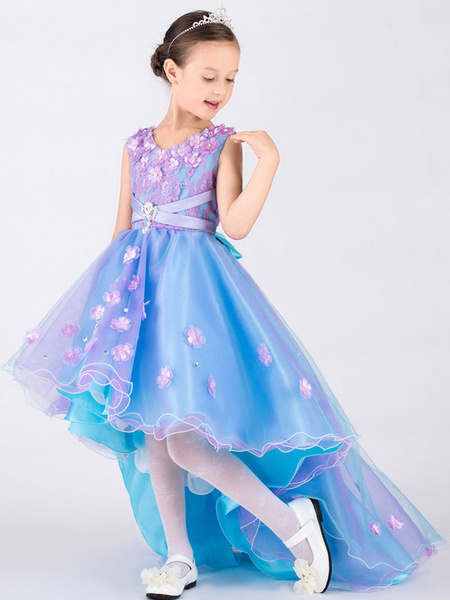 Milanoo Flower Girl Dresses Bows Flowers A Line Asymmetrical Sash Organza Formal Party Dress