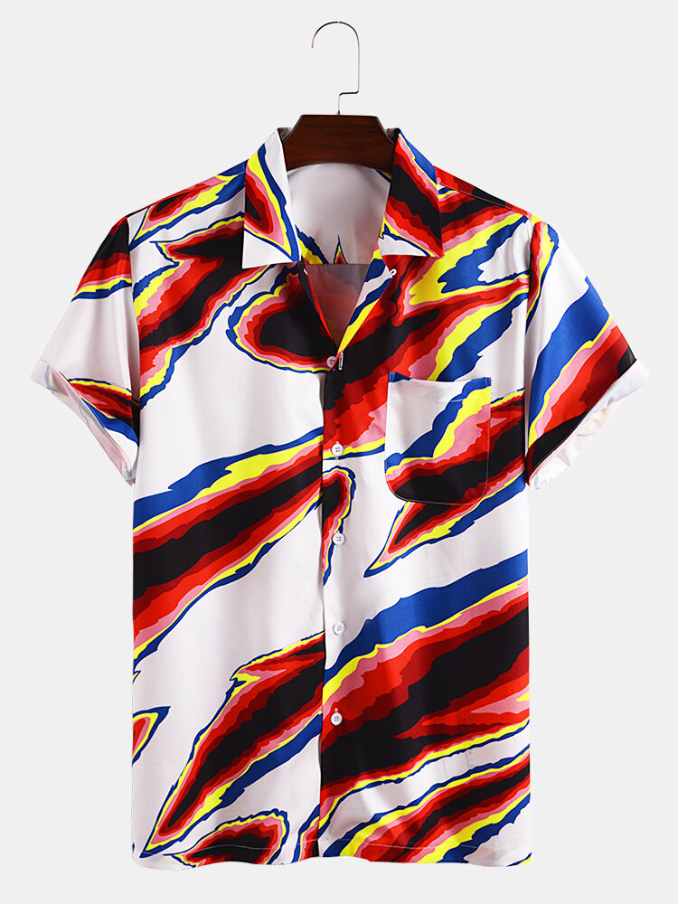 Mens Multi-Color Print Breathable & Thin Revere Collar Short Sleeve Shirts