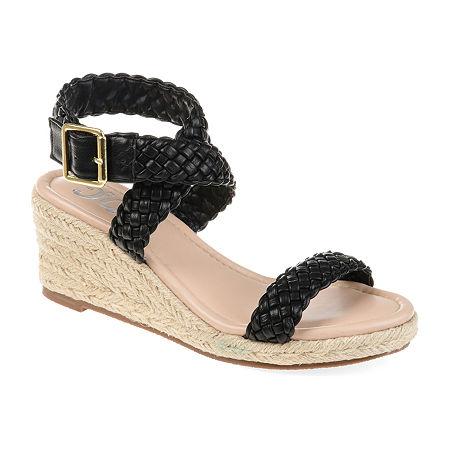 Journee Collection Womens Evolet Pumps Wedge Heel, 11 Medium, Black