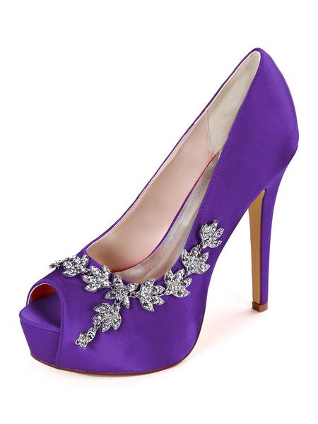 Milanoo Platform Bridal Shoes Wedding Shoes Ivory Satin Rhinestones Peep Toe Stiletto Heel