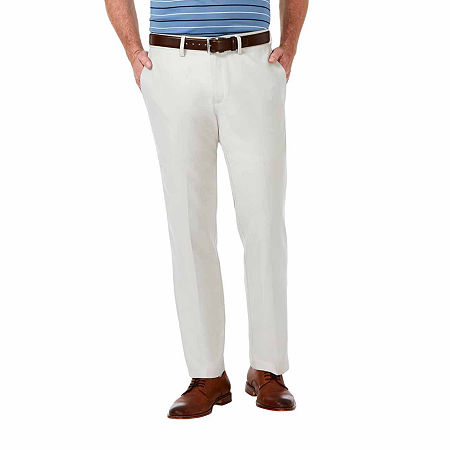 Haggar Cool 18 Pro Straight Fit Flat Front Pants, 34 34, White