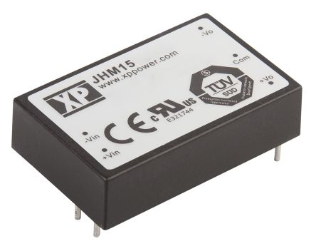 XP Power JHM15 15W Isolated DC-DC Converter Through Hole, Voltage in 18 → 36 V dc, Voltage out 12V dc Medical