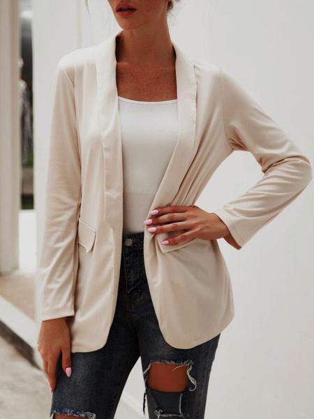 Milanoo Blazer For Women Stylish Turndown Collar Polyester Spring Fall Women\'s Blazer