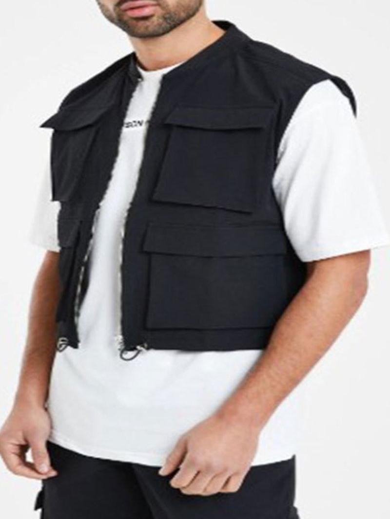 Ericdress Pocket Stand Collar Plain Fall Zipper Waistcoat