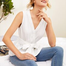 Self Belted Wrap Top