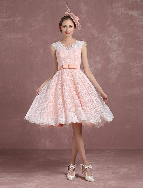 Milanoo Blush Wedding Dress Short Bridal Dress Vintage Lace Illusion Back V Neck A Line Knee Length Summer Wedding Dresses 2020 With Bow Sash