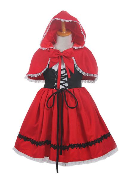 Milanoo Children\'s Halloween Cosplay Costume Little Red Riding Hood Halloween Cosplay Costume