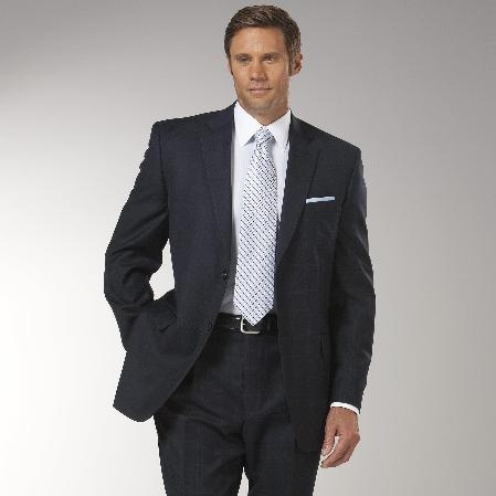 Mens Navy Plaid affordable suit online sale