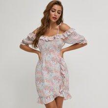 Ruffle Trim Cold Shoulder Ditsy Floral Dress