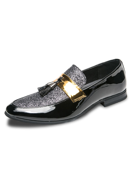Milanoo MensTassel Silver Loafers Shoes Sequined Round Toe Slip On Prom Shoes