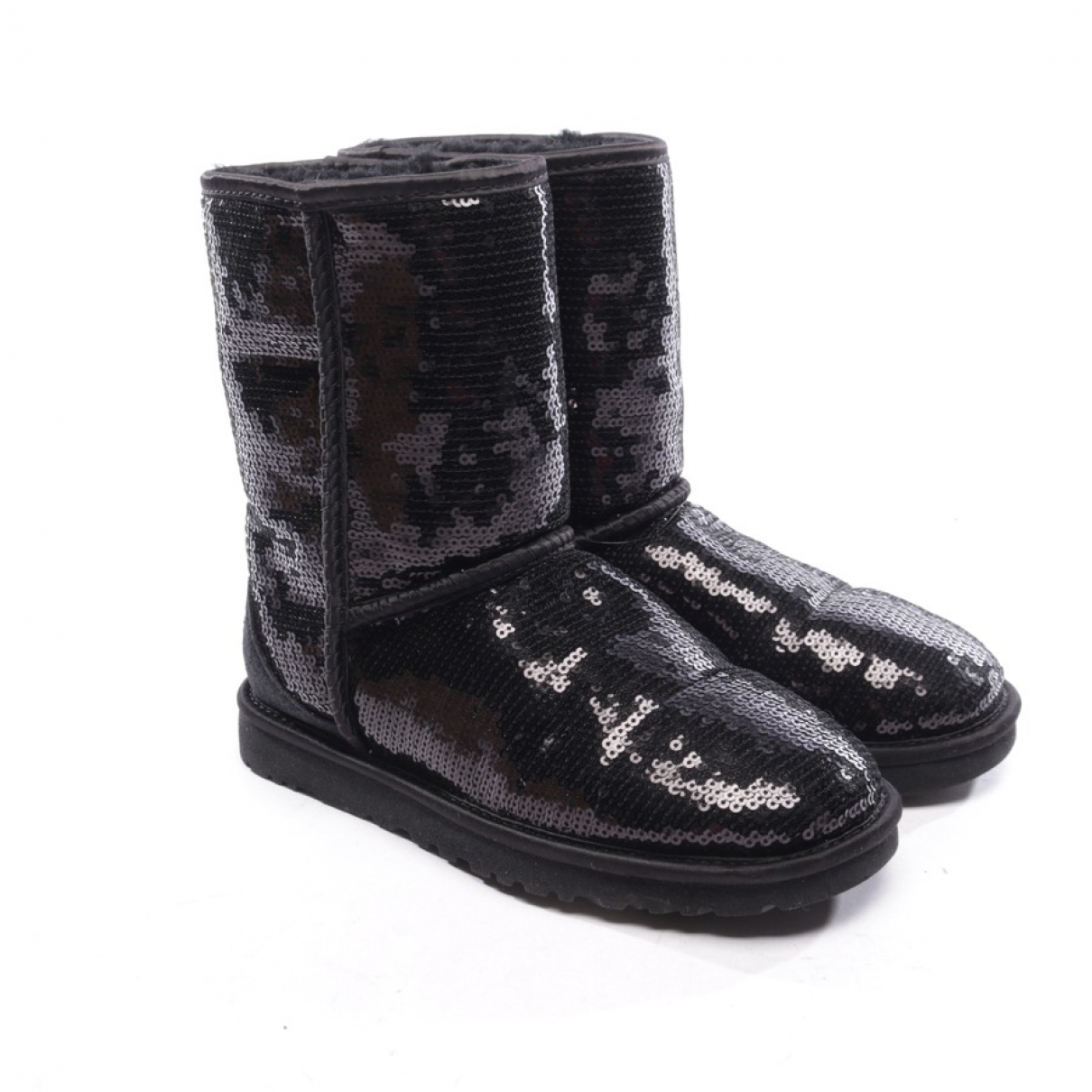 Ugg \N Black Leather Boots for Women 36.5 EU