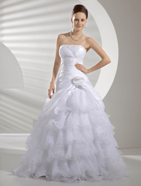 Milanoo White Taffeta Organza Pick-Up Organdie Wedding Dress