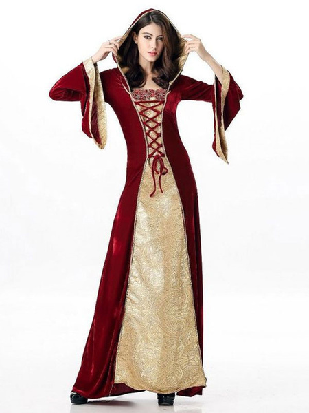 Milanoo Renaissance Costume Women Medieval Faire Costumes Halloween Dress