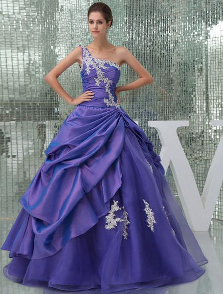 Milanoo One-Shoulder Prom Dress Beading Applique Taffeta Pleated Floor Length Quinceanera Dress
