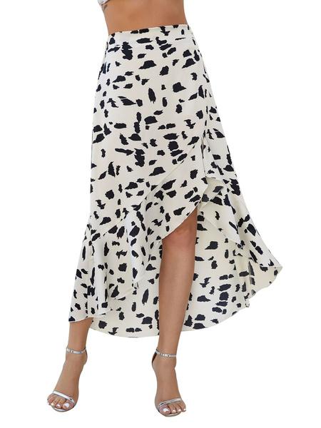 Milanoo Skirt For Women White Polyester Knee Length Autumn And Winter Women Bottoms Skirt