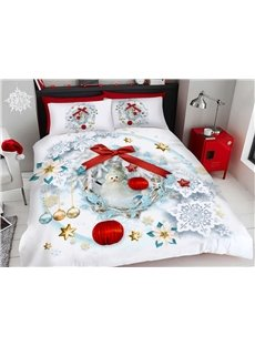 Snowman Christmas Bedding 3D Printed 4-Piece Polyester Bedding Sets/Duvet Covers