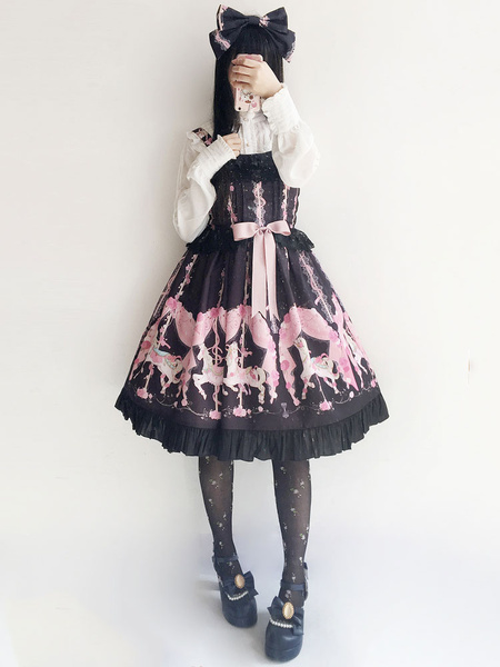 Milanoo Sweet Lolita Dress JSK Infanta Flower Carousel Print Bow Ruffle Jacquard Lolita Jumper Skirt Original Design