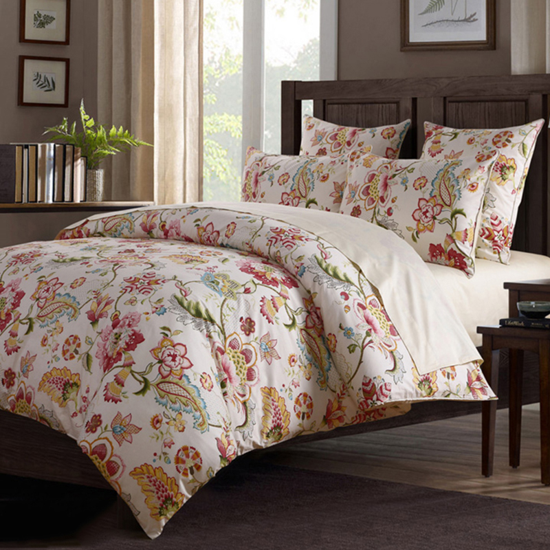 Colorful Floral Duvet Cover Set Reactive Printing Four-Piece Set Polyester Bedding Sets