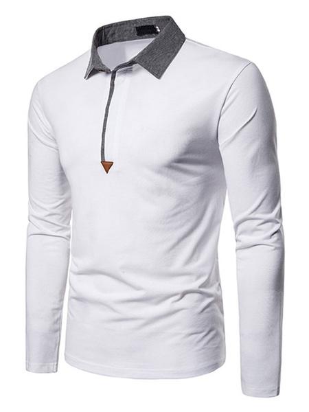 Milanoo Men\'s Polo Shirt Color Block Turndown Collar Long Sleeves Slim Fit Red Smart Polo Shirts