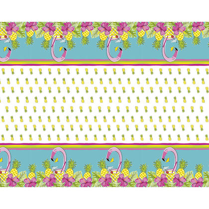 Couverture de table rectangulaire en plastique ananas et flamingo, 54