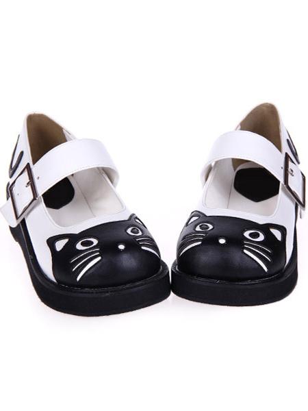 Milanoo Sweet Lolita Heels Black And White Kitty Pu Lolita Shoes