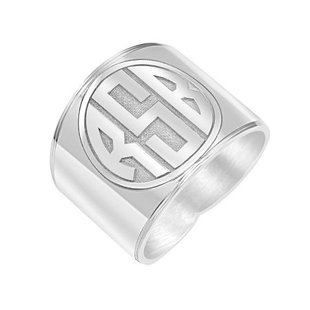 Personalized Circle Block Monogram Ring, 8 , White