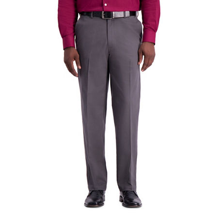Haggar Work to Weekend PRO Classic Fit Flat Front Pants, 38 34, Gray
