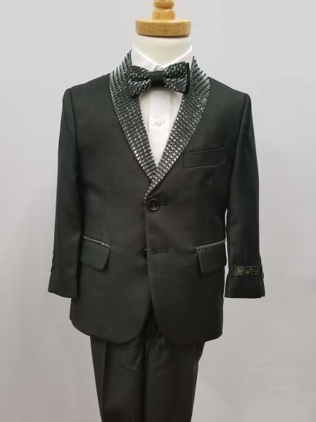 Mens Single Breaste Shawl Lapel Suit Black