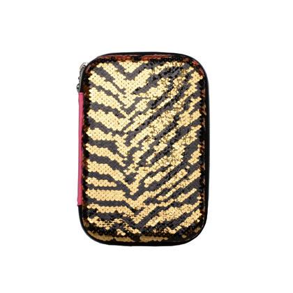 Trousse à paillettes de style léopard, 2 poches et 1 à clins - Moustache® - Jaune