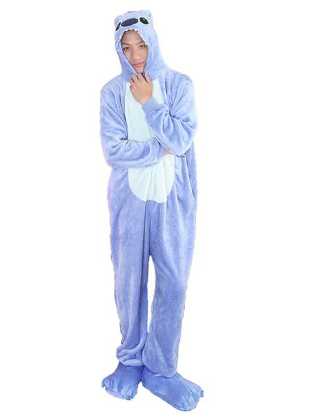 Milanoo Kigurumi Pajamas Stitch Pink Flannel Unisex Winter Sleepwear With Footwear Animal Halloween Costume