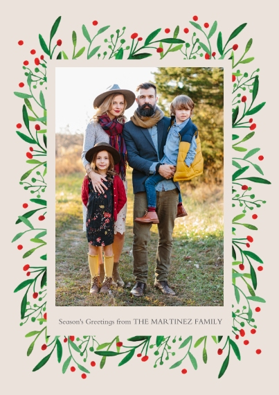 Holiday Photo Cards 5x7 Cards, Premium Cardstock 120lb with Scalloped Corners, Card & Stationery -Holly Frame