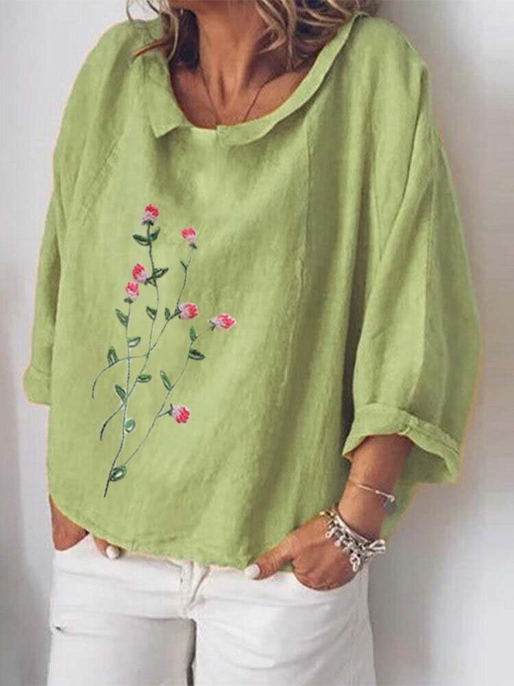 Flower Embroidery Turn-down Collar Long Sleeve Loose Blouse