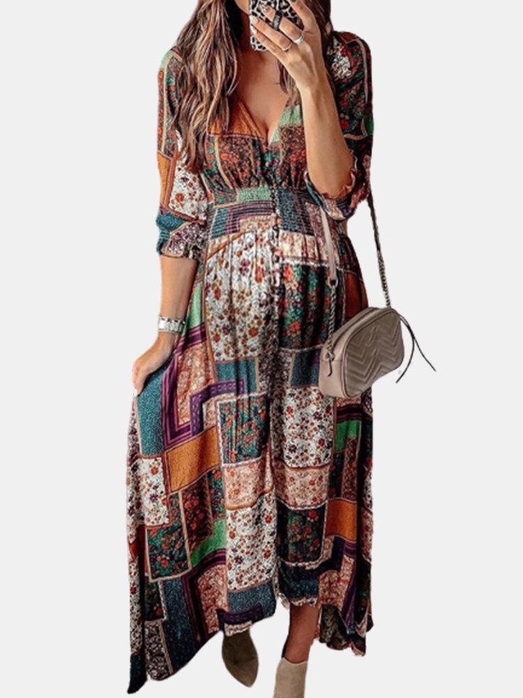 Bohemian Printed V-neck Asymmetrical Half Sleeve Maxi Dress