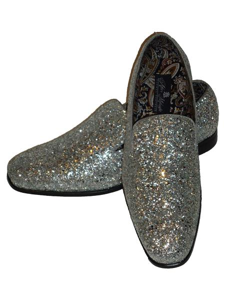 Mens Silver Slip On Style Glitter Dress Loafer Shoes Sequin Shiny Look