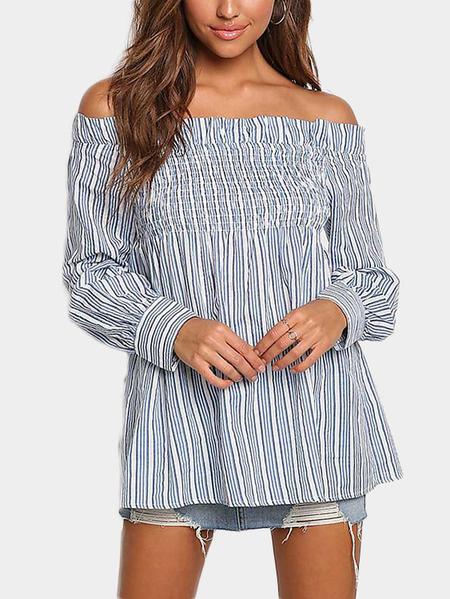 Yoins Blue Stripe Off Shoulder Long Sleeves Top