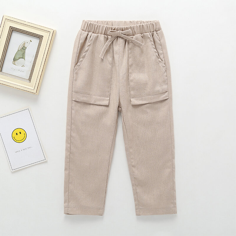 Children Solid Color Casual Pants With Pocket For 3-10Y