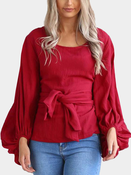 Yoins Red Tie-up Front Lantern Sleeve Top