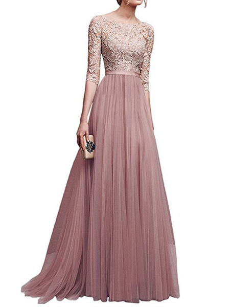 Milanoo Maxi Dress Half Sleeve Lace and Mesh Blush Pink Round Neck Women Party Dress