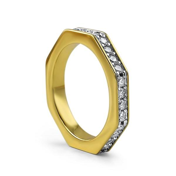 Skinny Octagon Iced Out Gold Ring