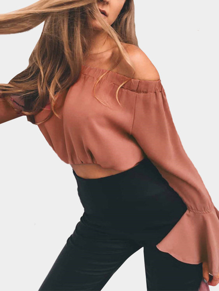 Yoins Rust Off-The-Shoulder Long Flared Sleeves Crop Top