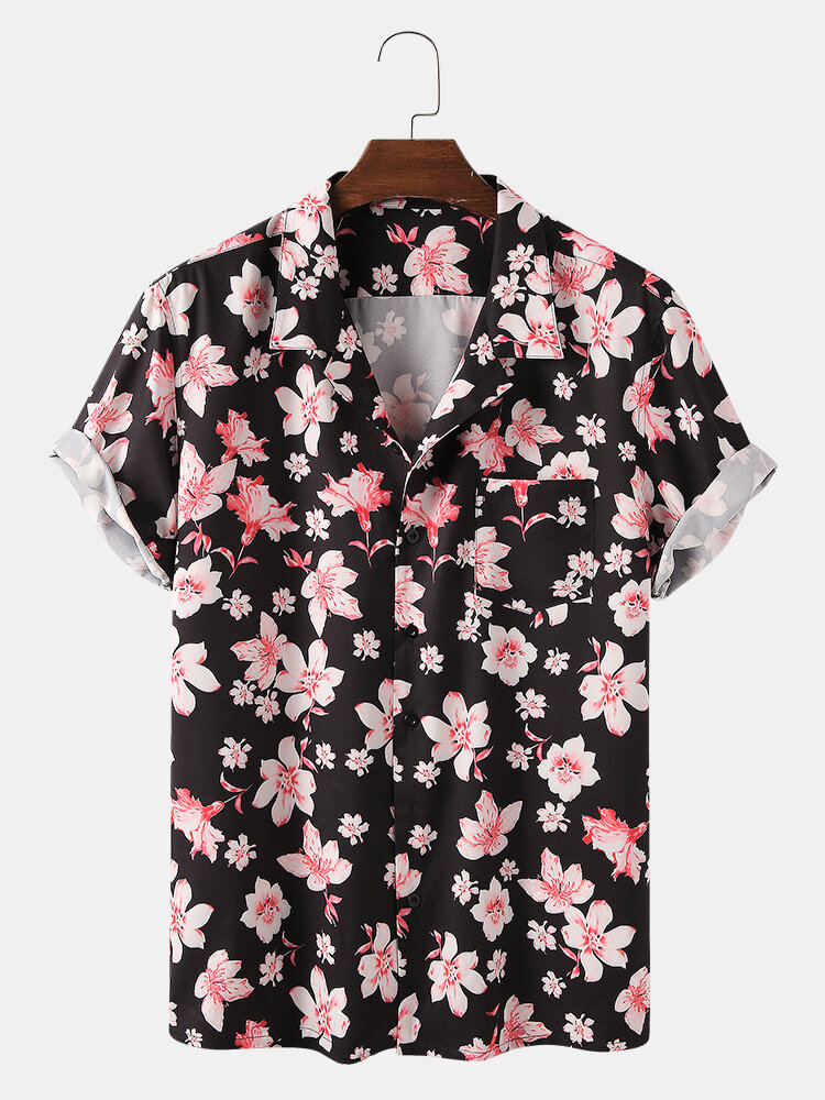 Men Holiday Floral Printed Short-sleeved Shirt