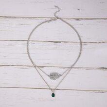 Leaf & Gemstone Layered Necklace