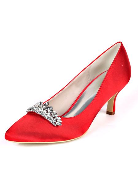 Milanoo Mid-low Heel Wedding Shoes Pointed Toe Pumps Kitten Heel Bridal Shoes