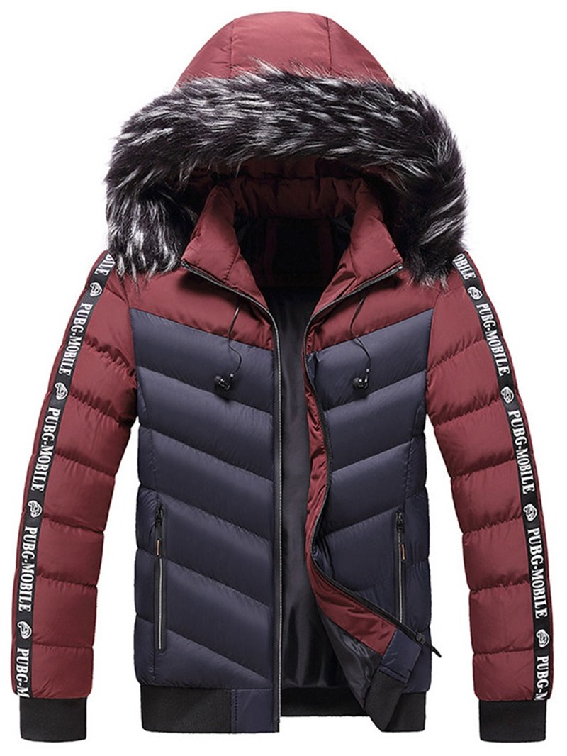 Ericdress Patchwork Color Block Standard Zipper European Down Jacket