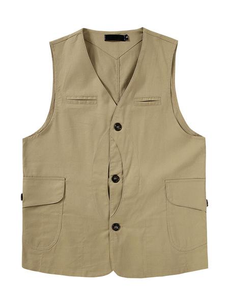 Milanoo Utility Vest Pocket Fishing Outdoor Waistcoat Sleeveless Jacket