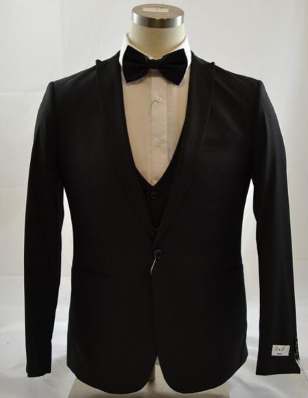 Mens 1Button Peak Lapel Vested suit 3 Piece Suits Slim Fit Tapper Cut